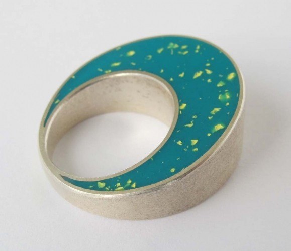Double sided ring – turquoise and green