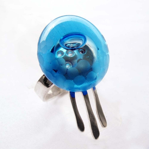 Blue Jellyfish Silver Ring with Bubble