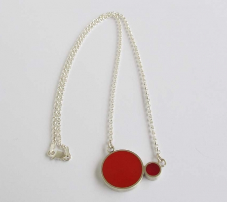 Pont.vero Silver Necklace– Red - Pink - Big