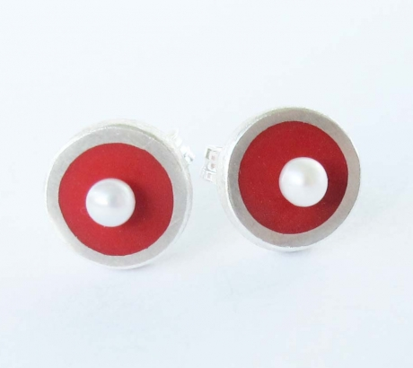 Red Stud Earrings with freshwater pearls