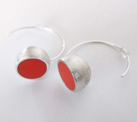 Salmon colour Hemisphere Earrings