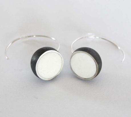 White Oxidised Hemisphere Earrings