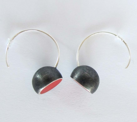 Red Oxidised Hemisphere Earrings