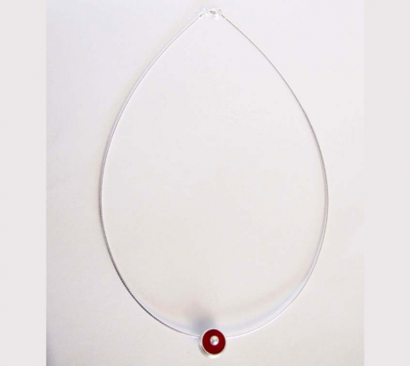 Red Hemisphere Necklace with Pearl