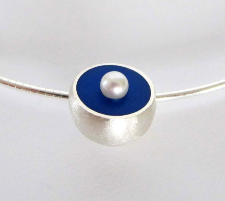 Blue Hemisphere Necklace with Pearl