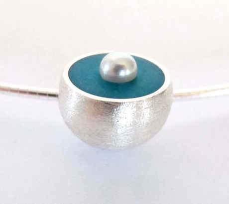 Turquoise Hemisphere Necklace with Pearl