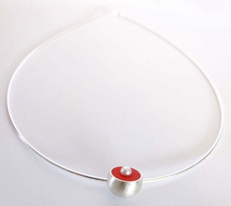 Salmon colour Hemisphere Necklace with Pearl