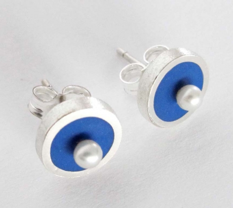 Blue Stud Earrings with freshwater pearls