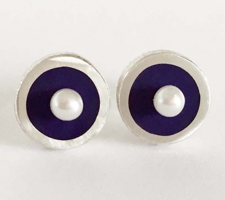 Purple Stud Earrings with freshwater pearls