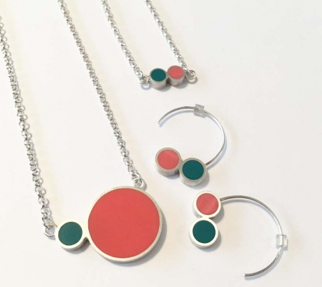 Pont.vero Silver Necklace– Salmon - Turquoise – Big