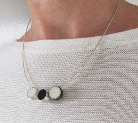 3 Hemisphere Black and White Necklace