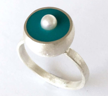 Turquoise Hemisphere Ring with Pearl