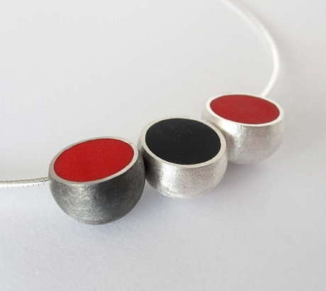 3 Hemisphere Red and Black Necklace