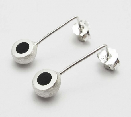Black Mini Hemisphere Earrings