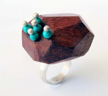 Ring with Turquoise and Coral Wood
