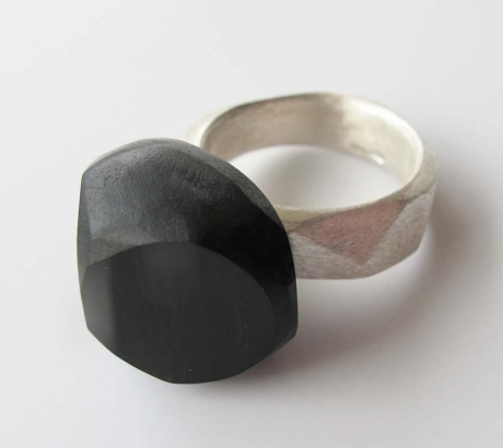 Ring with Ebony Wood