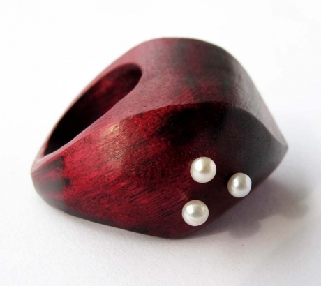 Amaranth Wood Ring with Pearls