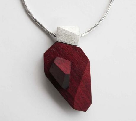 Amaranth Wood Silver Necklace