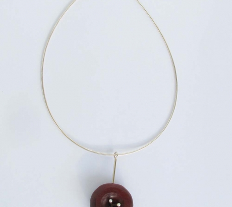 Coral Wood Silver Necklace with Pearls