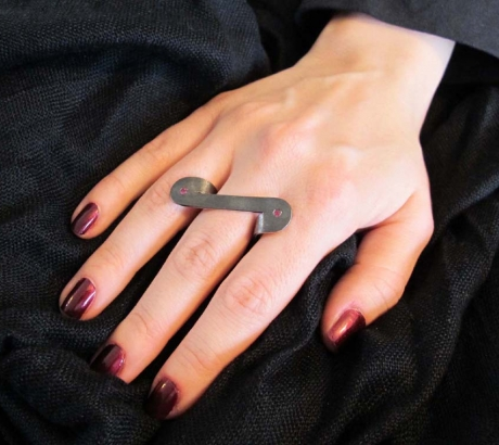 Black silver ring with ruby