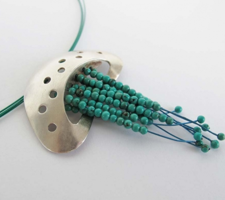 Jellyfish Silver Necklace with real Turquoise