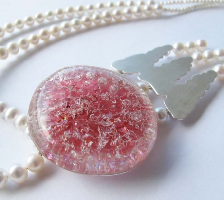 Pink Jellyfish Silver Necklace with Pearls