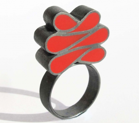 Baroque red silver ring