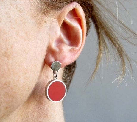 Silver red earrings