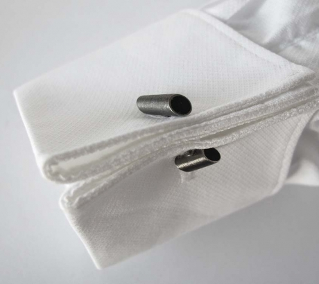 Black Tube Cufflinks - Black rhodium plated