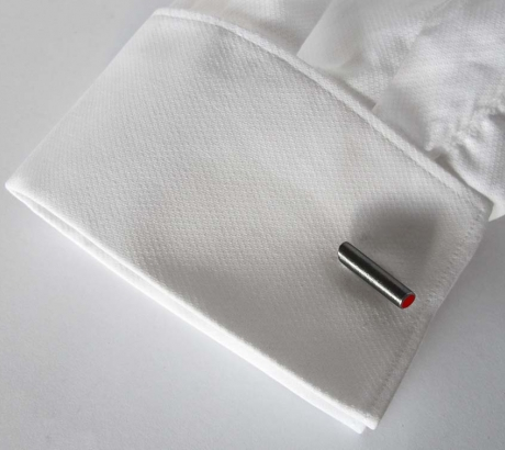 Red Tube Cufflinks - Black rhodium plated