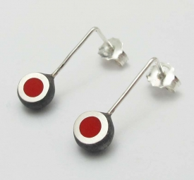 Red Oxidised Mini Hemisphere Earrings