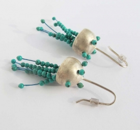 Jellyfish Silver Earrings with real Turquoise
