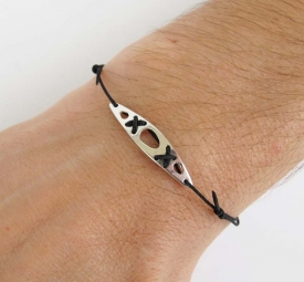 Sea kayak silver bracelet - black