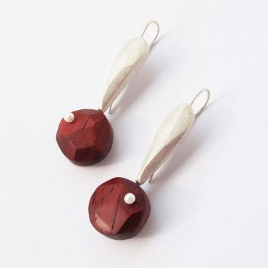 Coral Wood Earrings with Pearls