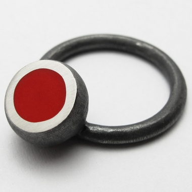 Red Oxidised Hemisphere Ring
