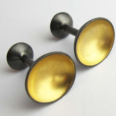 Gold Moon Cufflinks - Black rhodium plated