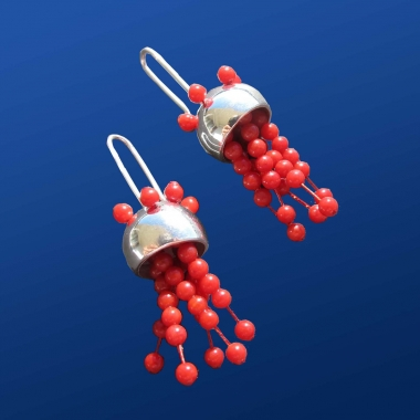 Jellyfish Silver Earrings with red Coral