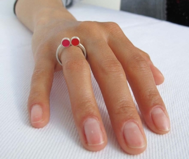 Pont.vero Ring – pink-red, size: 55, US7.25