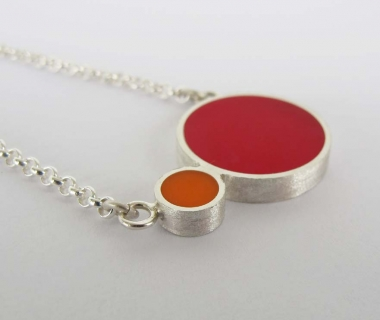 Pont.vero Silver Necklace– Pink-Orange - Big