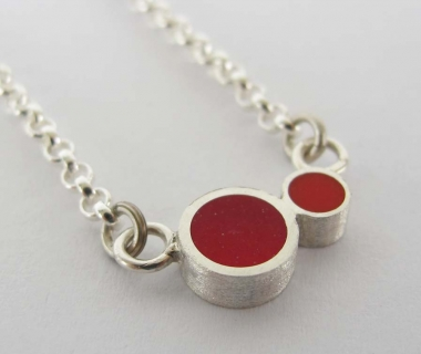 Pont.vero Silver Necklace– Red - Pink - Small