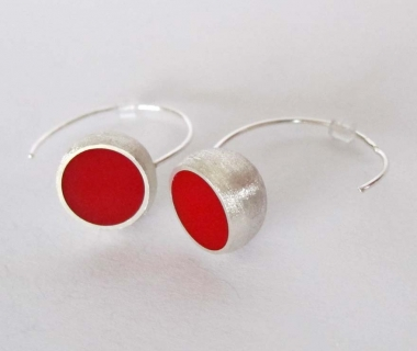 Red Hemisphere Earrings