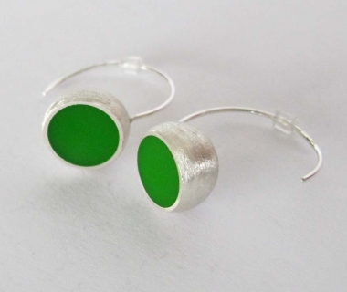 Green Hemisphere Earrings