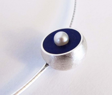 Purple Hemisphere Necklace with Pearl