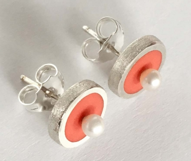 Salmon colour Stud Earrings with freshwater pearls