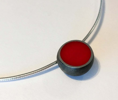 Black and Red Hemisphere Necklace