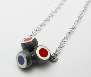 Mini Hemisphere Red-purple-salmon Necklace