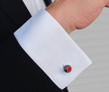 Red Hemisphere Cufflinks - Black rhodium plated